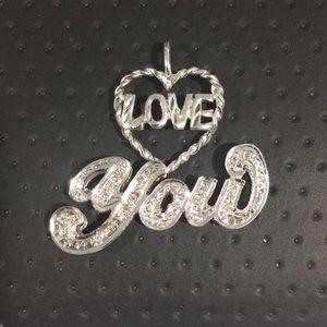 Jewelry - 14k White Gold Love ❤️ You Diamond 💎 Pendant